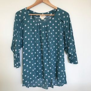 Anthro Maeve Teal Polka Dot Blouse Small